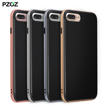 Pzoz Luxury PC frame+silicone TPU hybrid Back Cover Case For Apple iPhone 7 7 Plus Mobile Phone Bag bumpe Anti-knock Coque shell