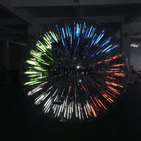 Dia 3M Inflatable Light Zorbing Ball Inflatable Glow Zorb Ball Shinning Inflatable Zorb Ball with Fluorescent strips