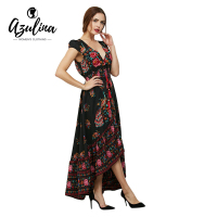 AZULINA Floral Print Bohemian Women Maxi Dress Deep V Neck Black Flower Vintage Spring Summer Dresses