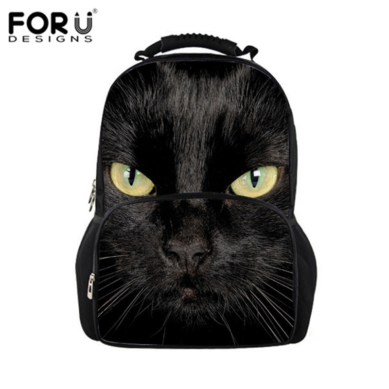 Black Cat Printing Backpacks for teenage girls school daypack, 2016 college women fashion laptop bag school backpack casual bags menghuo casual backpacks embroidery girls school bag female backpack school shoulder bags teenage girls college student bag