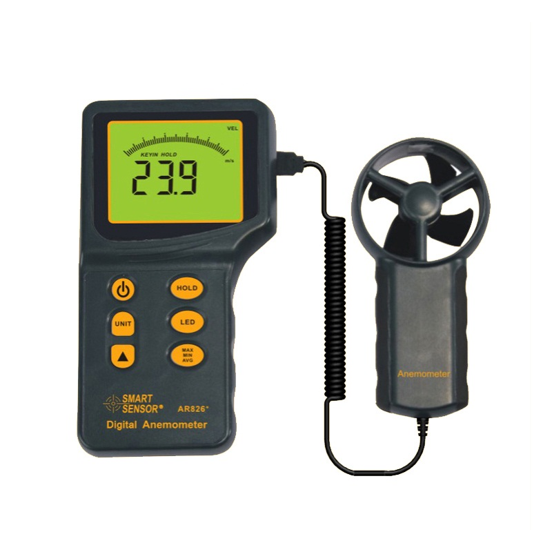 Smart Sensor 100% Original AR826+ Air Flow Anemometer Wind Speed Meter Wind Speed Gauge Tester 0.3~45m/s 106 twin