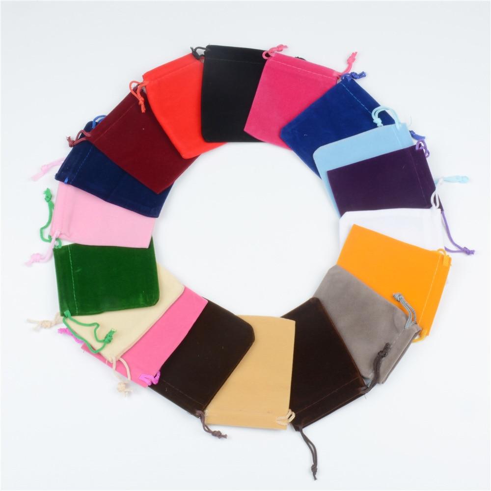 Hot Sale 100 Pcs 7x9cm/9x12cm Jewelry Casket Bags Velvet Drawstring Pouch Bag/jewelry Bags,christmas/wedding Bag Drop shipping
