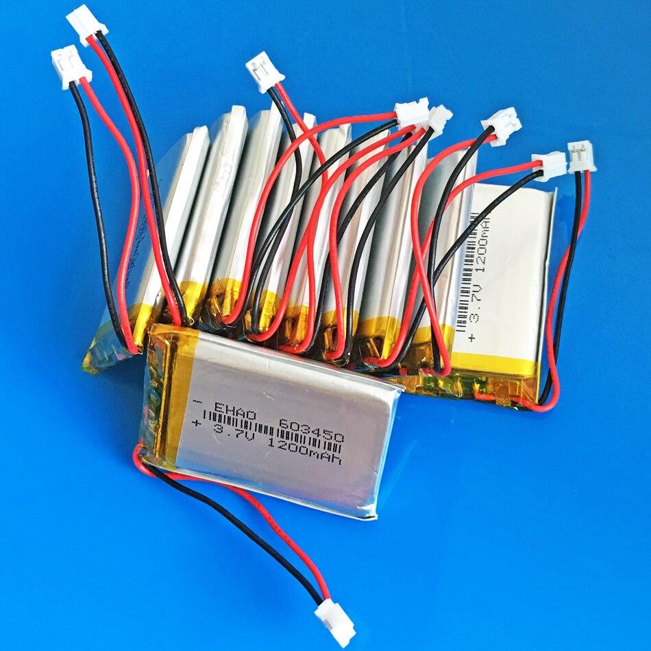 10 pièces 3.7 V 1200 mAh li polymère lithium batterie rechargeable PH 2.0mm 2 P prise pour GPS DVD bluetooth enregistreur e-book caméra 603450