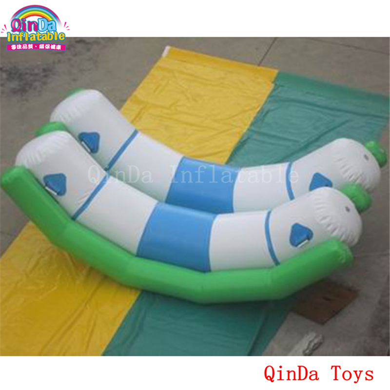 Water sports game inflatable seesaw toys for pool, 3m inflatable double seesaw with free air pump river treasure water sport toys inflatable water seesaw