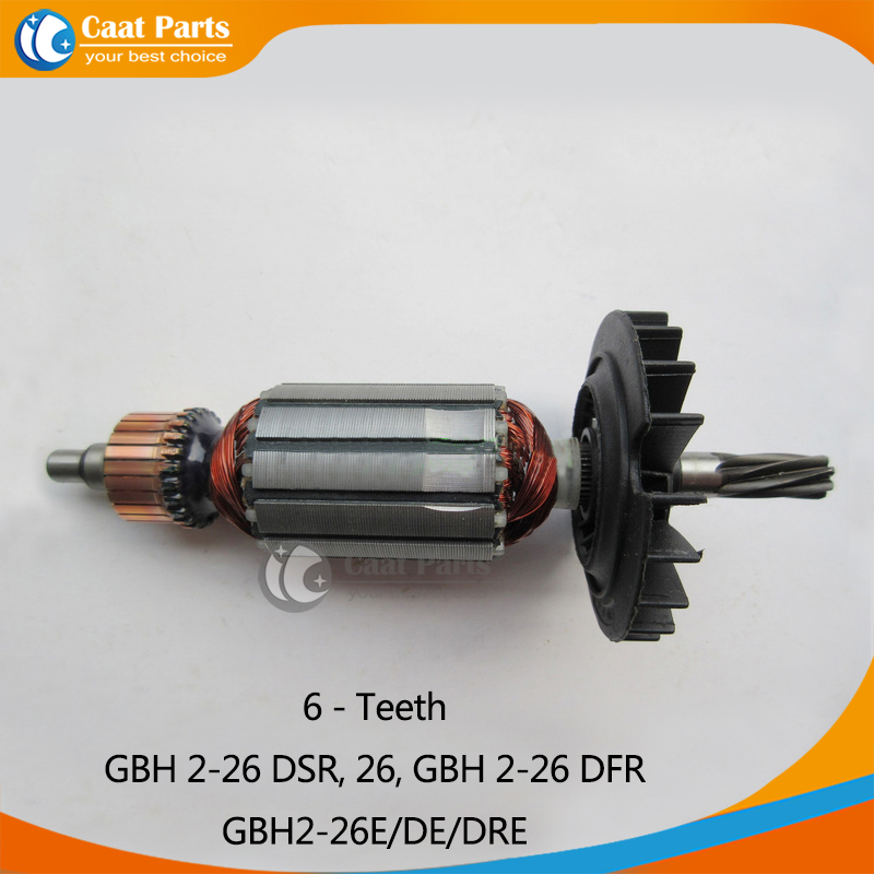 AC 220V Armature Rotor for Bosch GBH 2-26 DSR, 26, GBH 2-26 DFR, GBH2-26E/DE/DRE,with 6 teeth shaft, Brand New! Free shipping!