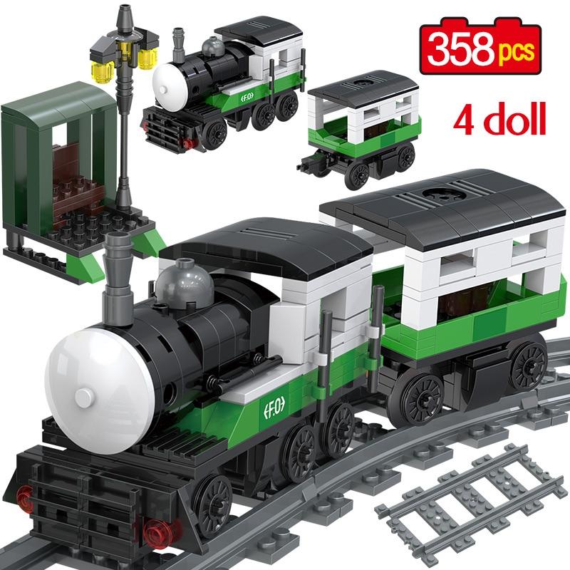 358PCS Technic Series Emerald Passenger Train Building Block Bricks Legoingly City Train Track Creator Figures Kids Toys