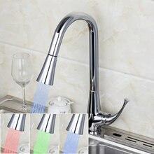 2014 Современный одной ручкой полированная chrome на бортике Кухня Раковина LED Pull Out кран
