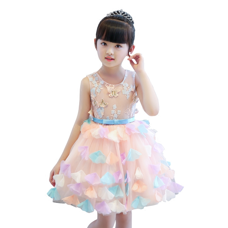 New Arrival High Quality Children Girls Korean Sweet Flowers Princess Ball Gown Dress Kids Birthday Wedding Party Costume Dress