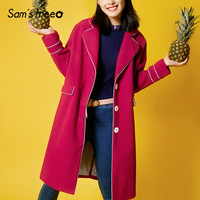Samstree Зимняя шерстяная одежда Для женщин пальто карман смесь отложной воротник красные, синие женские длинное пальто широкий талией верхняя