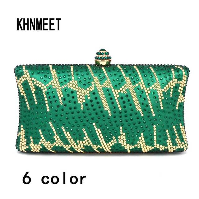 6 Color Purse Green Clutch Bag Fashion Crystal Diamond Evening Golden Female Wedding Bridal