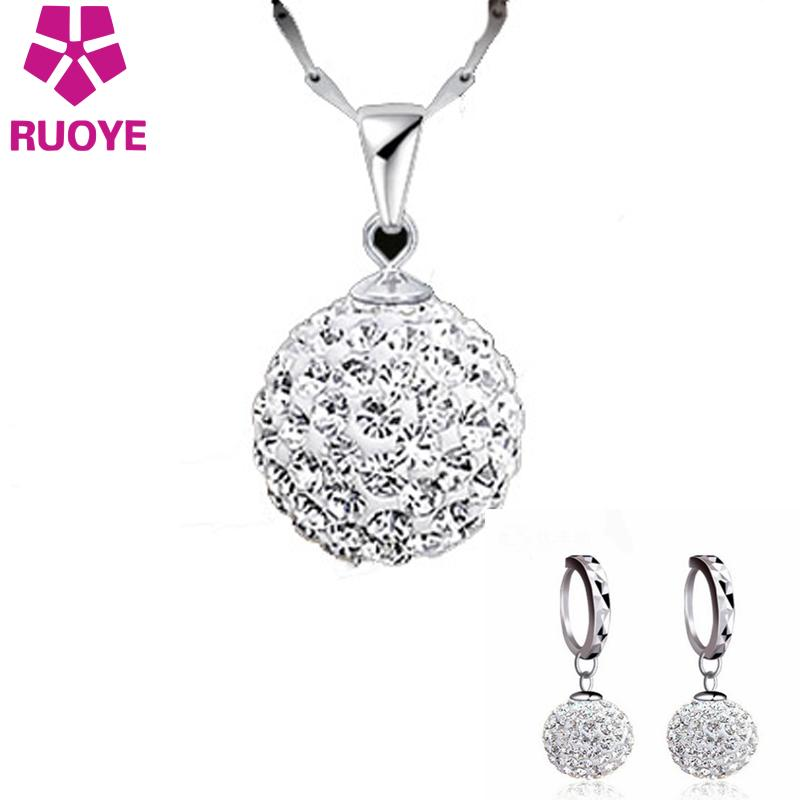 RUOYE 1 Set New Fashion Luxury Penuh kristal Shambhala Earrings Wanita Perhiasan Prom Partai Stud Earrings Jewelry