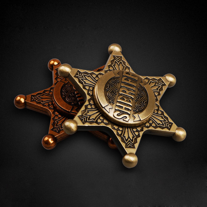 2017 Hot sales toys Sheriff Pattern Hand Spinners Fidget Spinner Long time Brass Toy Gift Finger