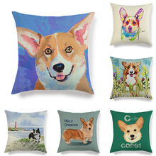 45cm*45cm corgi dog pattern design linen/cotton throw pillow covers couch cushion cover home decorative For Kids