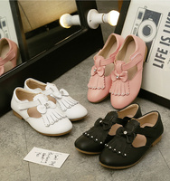 WENDYWU Kids Shoes For Girl Tassel bow girl princess shoes leather children leisure student black leather shoes Soft dough