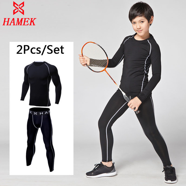 66aac5ba0837 Sports Gym Clothes Kids Boys Girl Compression Running Sets Football  Basketball Soccer Fitness T-shirt Tights Leggings Jogging