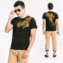 Мужские хлопковые футболки с вышивкой дракона, дизайн татуировки, Мужская модная летняя повседневная футболка с короткими рукавами, футболки высокого качества
