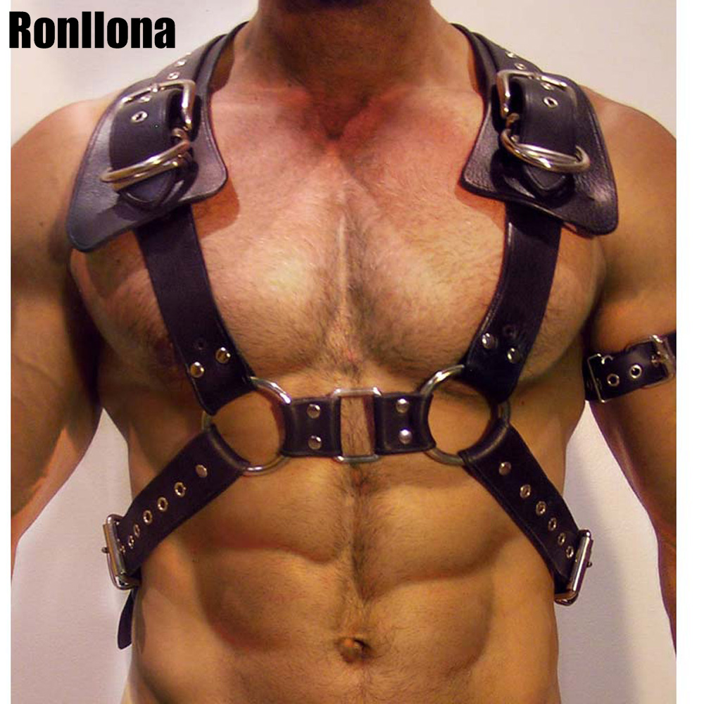 Men Body Restraint Leather Harness Belts Straps Suspenders Braces Armor Costumes