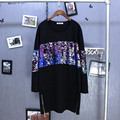 2017 Spring O Neck Long Sleeve Pure Cotton Pluse Size Loose Sequined T Shirt Long Black T-shirt Quality Guarantee ZH060