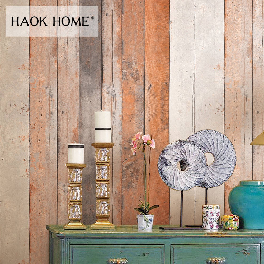 купить HaokHome Vintage Wood 3d Wallpaper Rolls Wooden Plank Panel Contact Paper Living Room Home Kitchen Bathroom Decoration по цене 3053.09 рублей