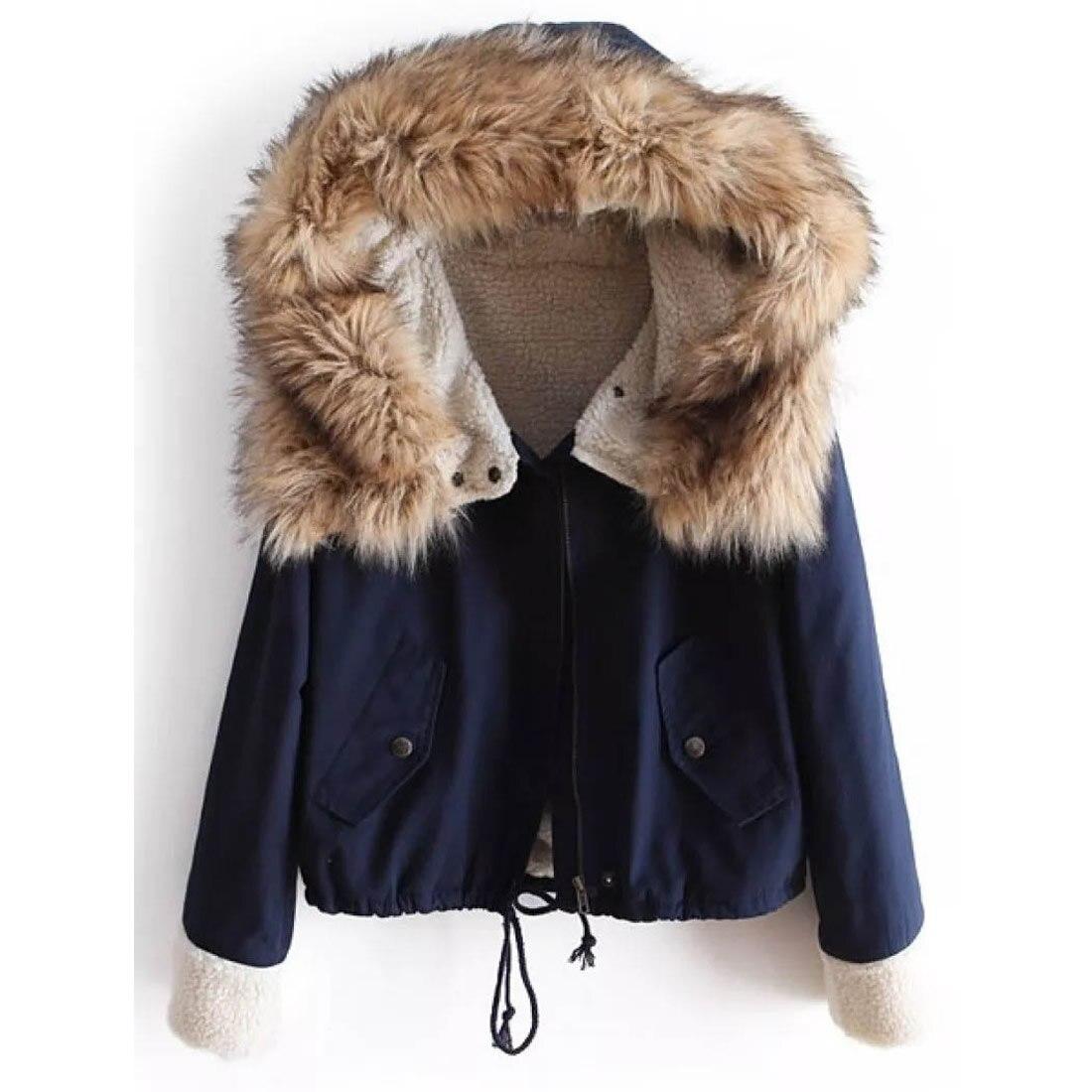 2018 mode femme bleu marine grand col de fourrure de raton laveur à capuche manteau Parkas Outwear détachable fourrure de lapin doublure hiver veste