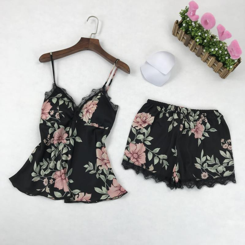 spring and autumn goddess pajamas, womens ice silk printing two piece set of harness, shorts, home furnishing summer