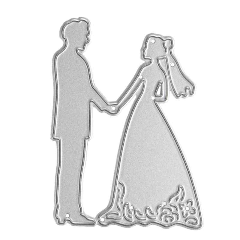 Metal Bride Wedding Decoration Bride Groom Cutting Dies Stencils For DIY Scrapbooking Paper Cards Making Embossing Dies Craft