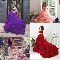 Princess Orange/Pink/Burgundy/Purple Wedding Dresses Cascading Ruffles Maternity Pregnant Plus Size Wedding Dress 2017 Strapless