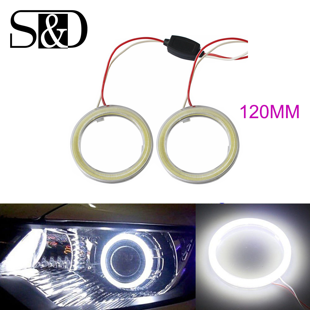 1Pair White 120MM COB Car LED Angel Eyes DRL Daytime Running Headlight Halo Ring Driving  Lamp Auto Blub with Cover 93 Chips 12V 1pair white 80mm cob car led angel eyes drl daytime running headlight halo ring driving lamp auto blub with cover 63 chips 12v