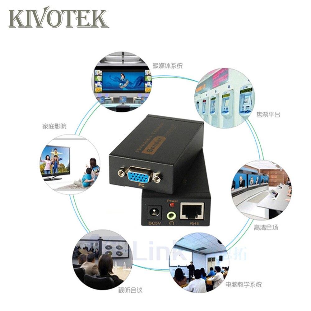 Adaptateur d'extension VGA VGA, SVGA, XGA, UXGA Extension d'émetteur VGA 100 m par connecteur Lan CAT5e/6 RJ45, pour CCTV, HDTV livraison gratuite - 5