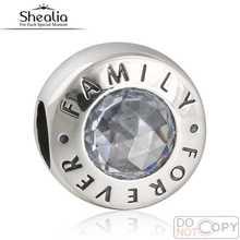 925 Familia Siempre Granos de Los Encantos Fit Pandora Original Pulsera de Cuentas de Cristal Para Shealia Diy Jewelry Making BD375