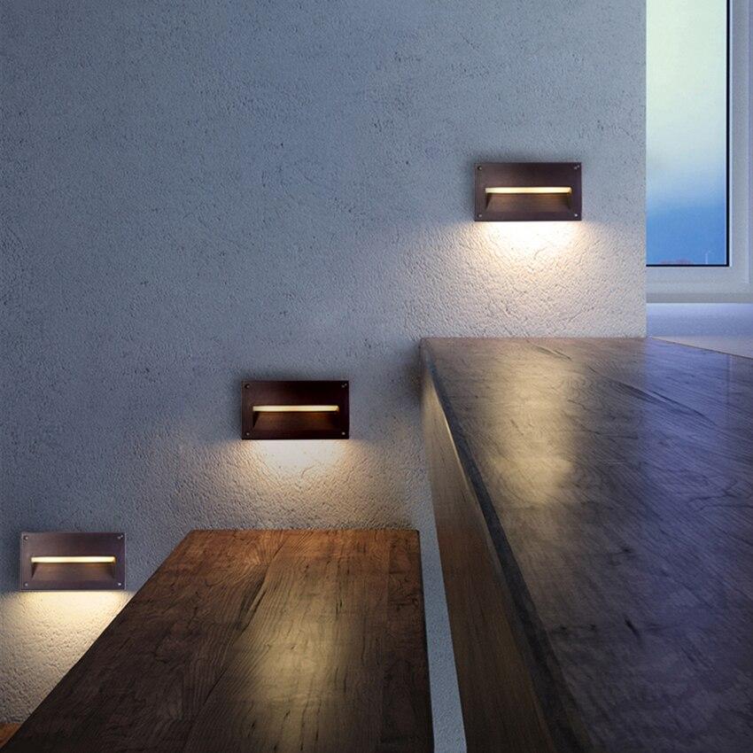 10pcs Wall Light LED Embedded footlight IP65 Waterproof corner lights Villa Stair Step Lamp Wall Lamp