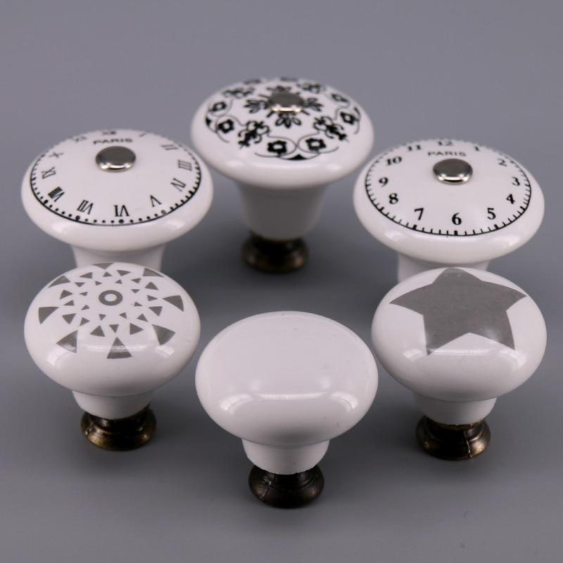 1x 33mm/38mm Single hole Ceramic knob Round Kitchen Furniture cabinet drawer pull handle