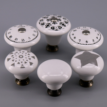 1x 33mm/38mm Single hole Ceramic knob Round Kitchen Furniture cabinet drawer pull handle