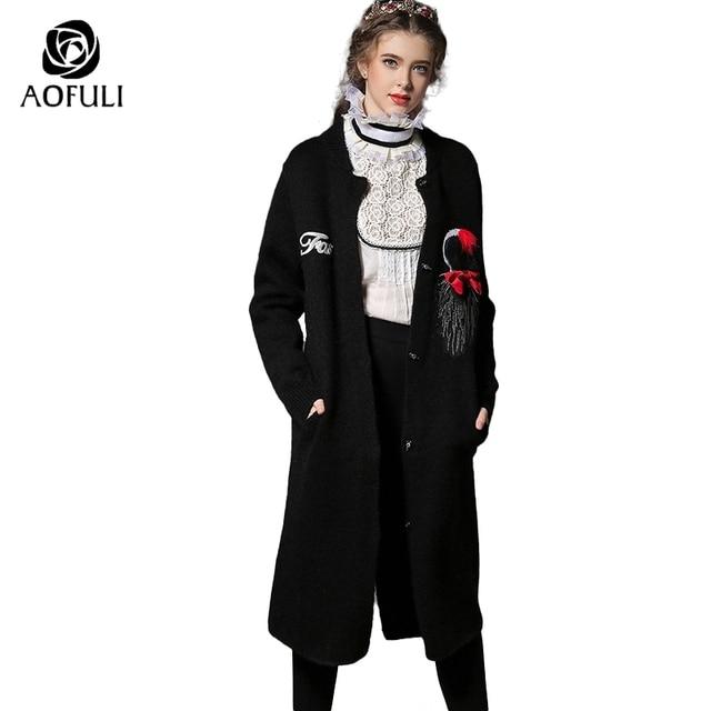 Zwarte Trui Dames.S Xxl Vrouwen Lange Knit Vest Trui Dames Boog Patches Zwarte Lange