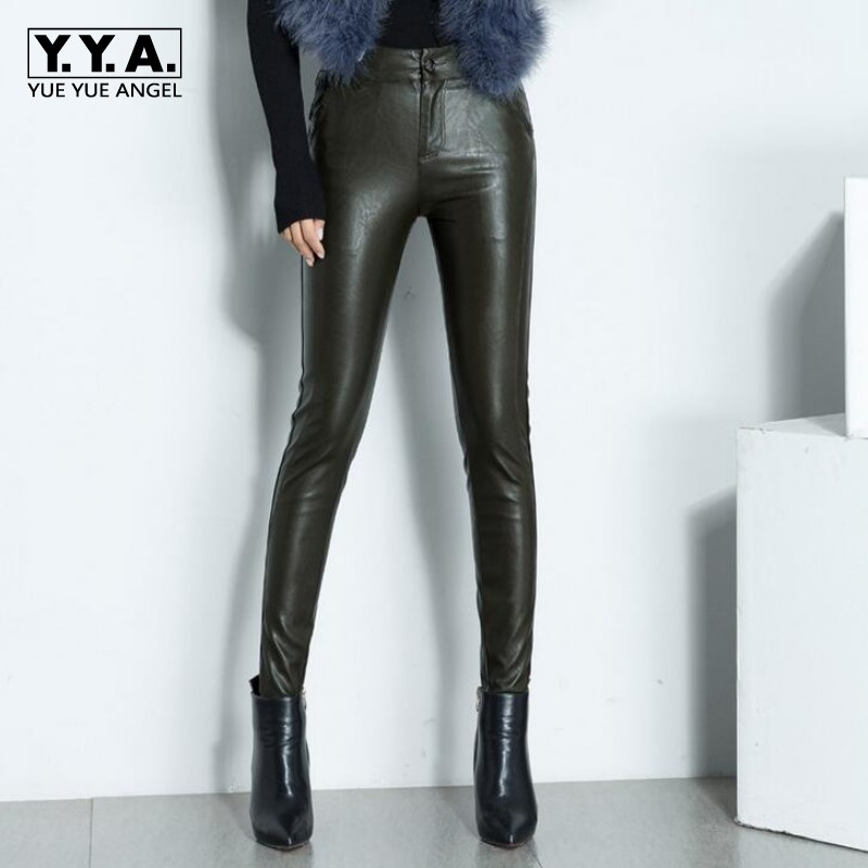 2019 New Women Sexy High Quality Pu Leather Skinny Pants Biker Fleece Lining High Waist Office Lady Long Leather Pencil Pants