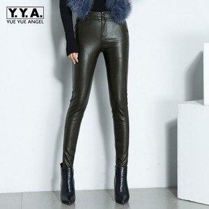 Image 1 - Novas mulheres sexy de alta qualidade couro do plutônio calças magras biker velo forro cintura alta senhora do escritório calças lápis de couro longo