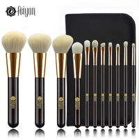 Makeup Brushes Set 11 Pcs Face Foundation Powder Brush Bronzer Eye Cosmetic Brushes Kit Professional Natural
