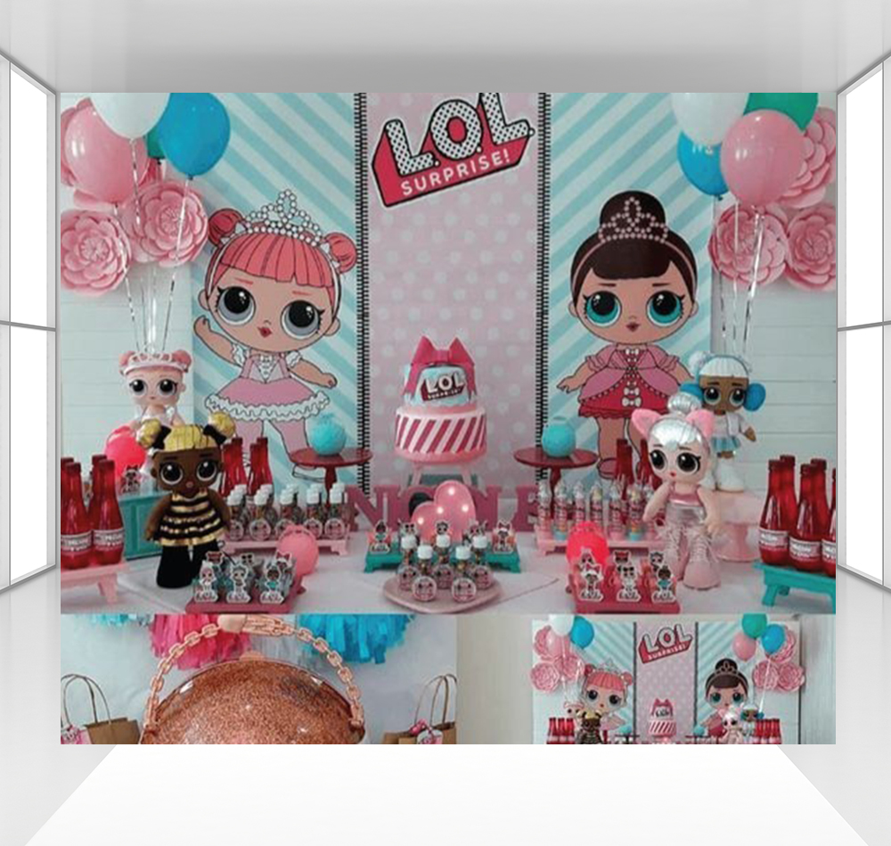 Surprise background for girls photography backdrops baby children birthday party decoration Surprise doll dessert table CZ-174Surprise background for girls photography backdrops baby children birthday party decoration Surprise doll dessert table CZ-174