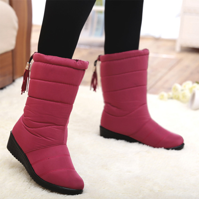 9b5c6ed0eea Flat Platform Women Snow Boots Waterproof Winter Warm Shoes Casual Plush  Leather Mid-Calf Boots Female Plus Size Shoes