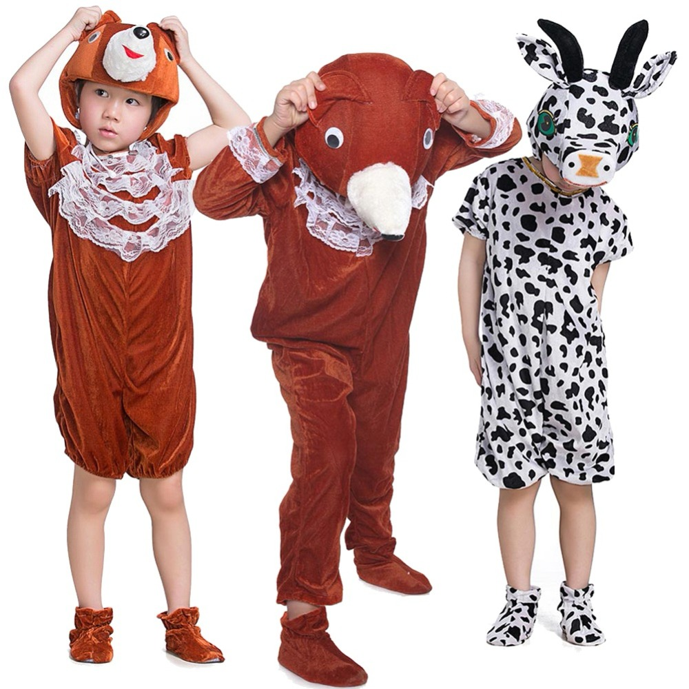 Kids Girls Boys Animal Plush Hooded Outfit Cosplay Outfit Halloween Cartoon Bear Cow Panda Costume Sz3-14 Years