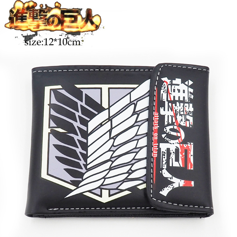 Japanese Anime Attack On Titan Scout Regiment wings of liberty Military police regiment PU Short Purse Wallet Black Color