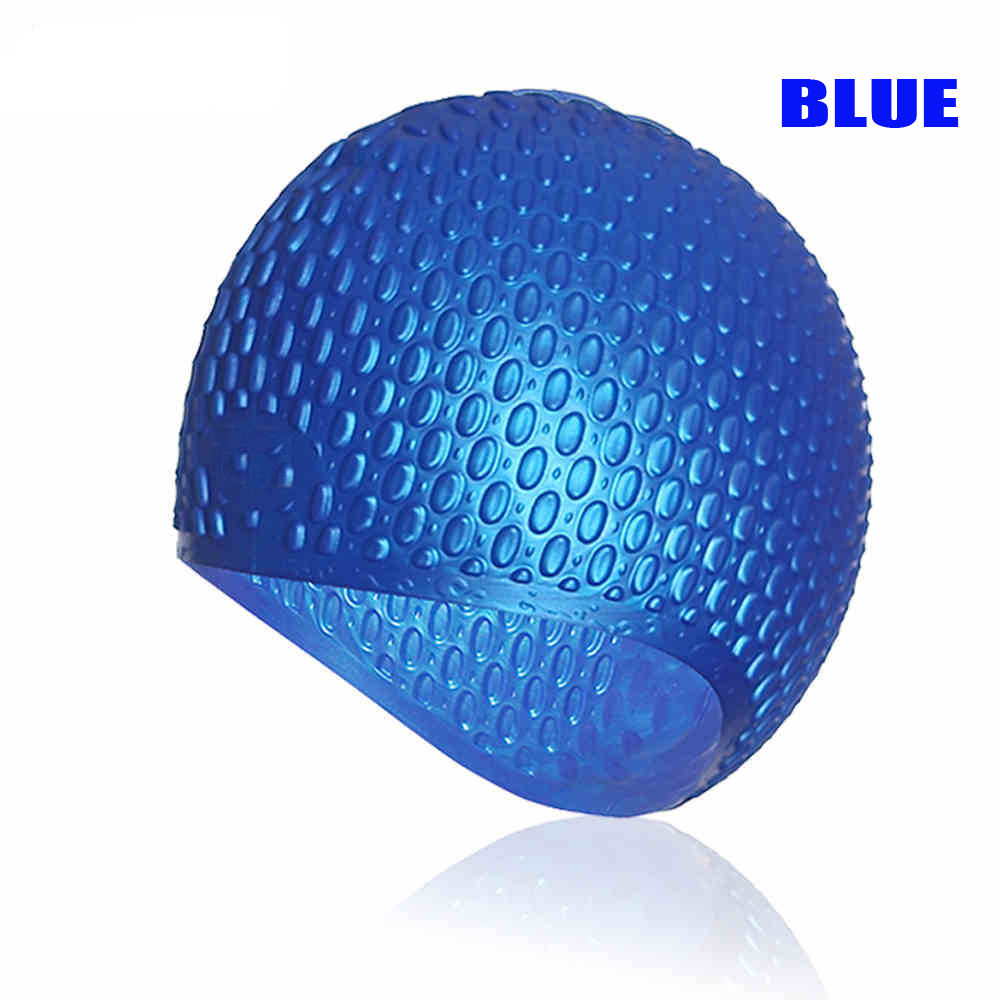 DEEPGEAR silicon swim hat Ear protect waterproof swimming cap Anti slip waterdrops swimming gears Unisex colorful long hair caps