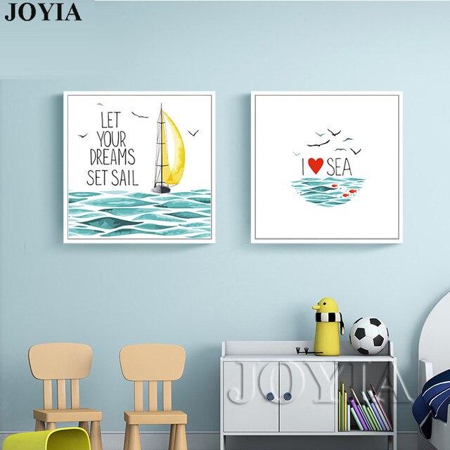 Citaten Zee : Aquarel vis boot zee canvas art prints poster liefde citaten