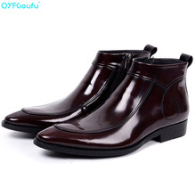 купить QYFCIOUFU Men Black Brown Chelsea Boots Fashion Pointed Toe Genuine Leather Dress Boots Shoes High Top Male Short Ankle Boots по цене 5834.89 рублей