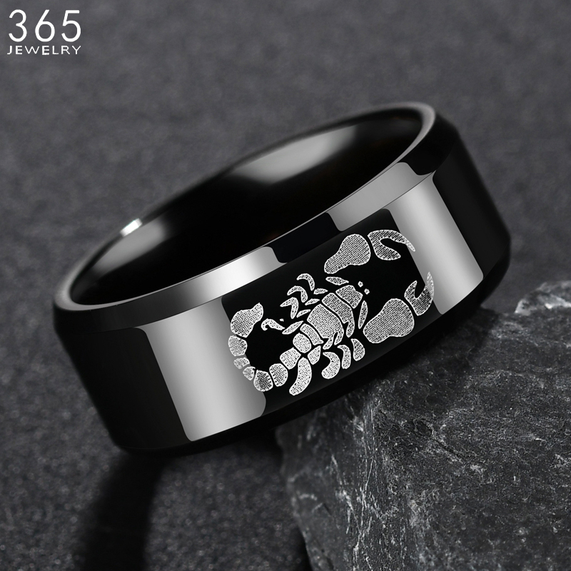 Новый дизайн, 8 мм, искусственная сталь, мужские панковские черные кольца с животными, подарок для парня|Кольца|   | АлиЭкспресс