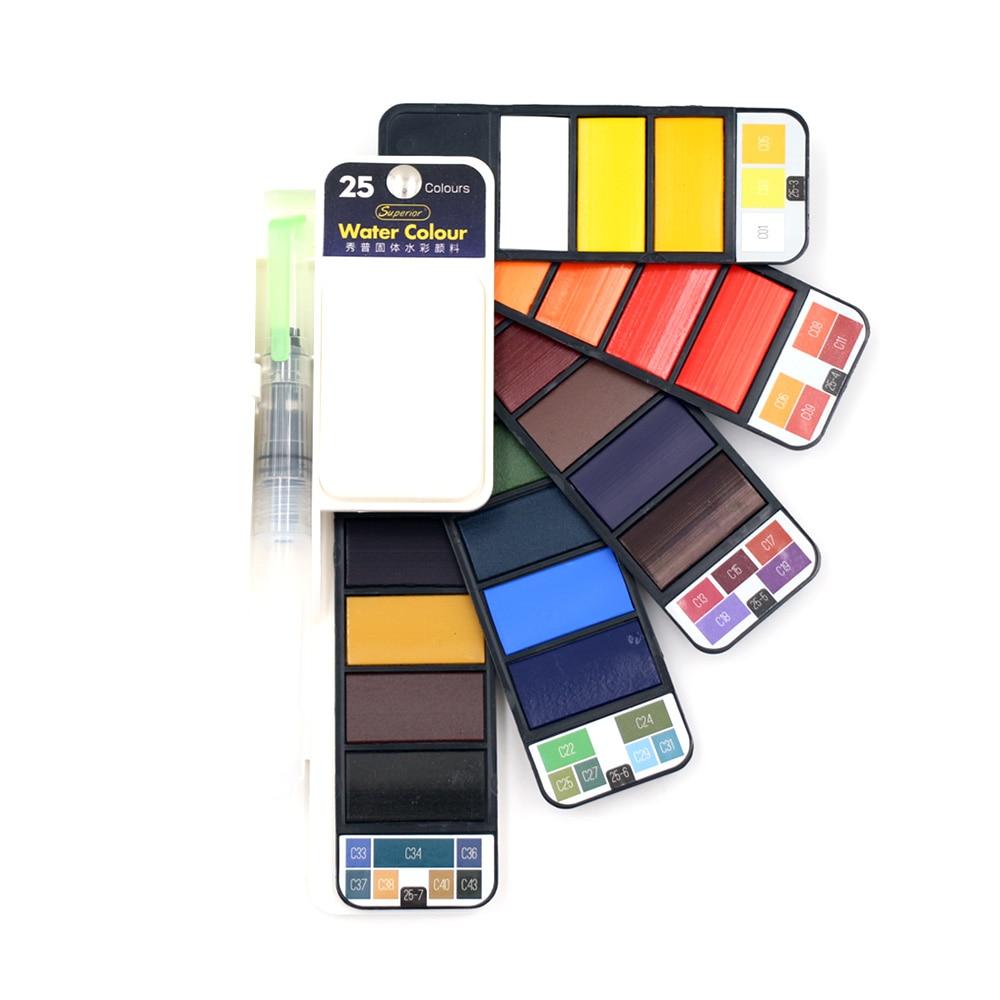 Ensemble de couleurs multiples de peinture aquarelle solide supérieure avec stylo brosse à eau pliable voyage Pigment de couleur de l'eau livraison directe