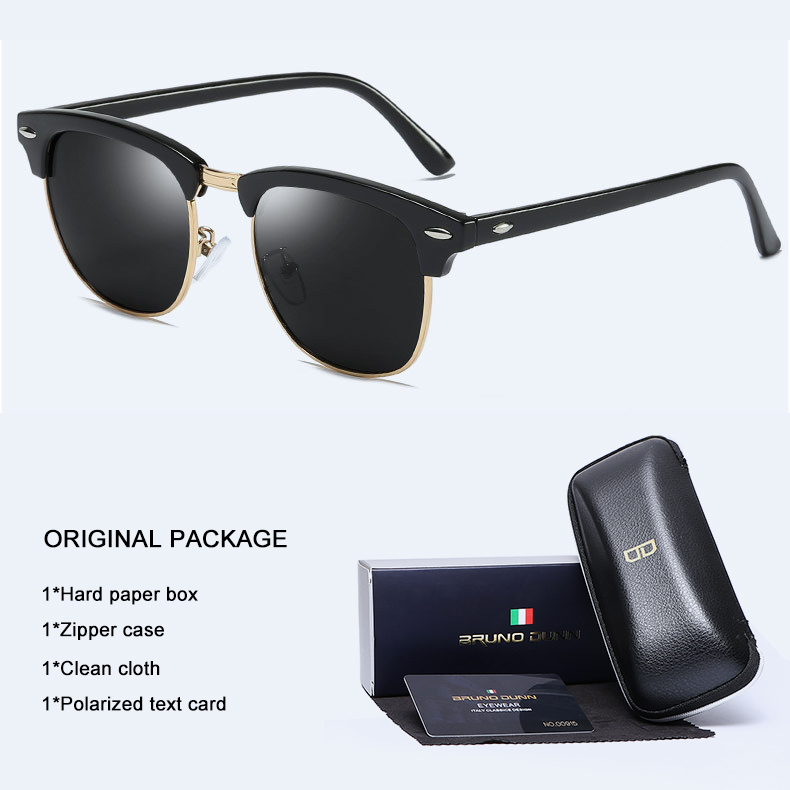Bruno Dunn Retro Sunglasses polarized Brand Designer ladies Sun Glases For Men Women Vintage Ray lunette de soleil femme shades(China)