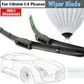 Para Citroen C4 Picasso 2008-2013 Lâminas Carro Limpador De Borracha Macia Veículo Windshield Windscreen Wiper Blade 1 Pair