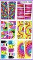 6 pack/lote GLITTER etiqueta del agua del arte etiqueta engomada del clavo de la cubierta completa de neón de COLOR del mosaico SY1575-1580