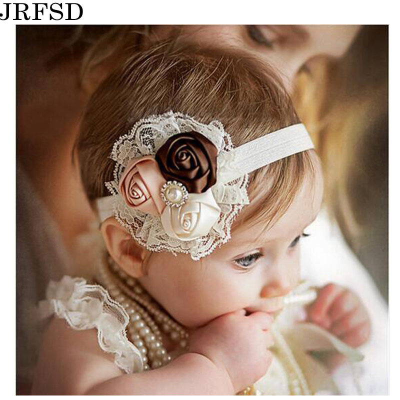 JRFSD Cute Headwear 2017 new fashion Hair bands Lace mix 3 Rose headbands kids Flower Hair Accessories jrfsd 7pcs set new fashion girls hair clip cartoon images hair bands princess mini dress hairgrip kids hair accessories